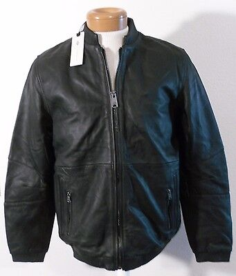 NWT Dickies CONSTRUCT Mens Leather Bomber Jacket M Black MSRP$525