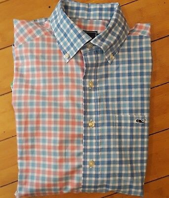 Pastel Checker - PASTEL CHECKER PATCH VINEYARD VINES  whale BUTTON DOWN SLIM FIT TUCKER SHIRT szS