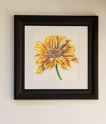 Original Colored Pencil Drawing of a Yellow Flower