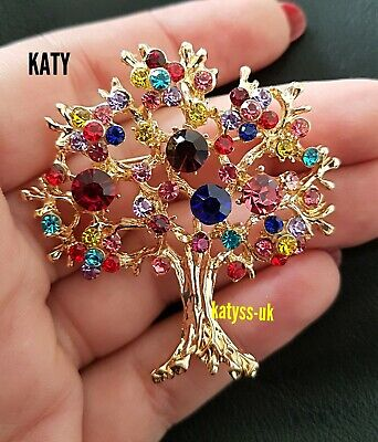 Vintage Style Gold Tone Tree of Life Crystal Diamante BROOCH Pin Broach  Gift