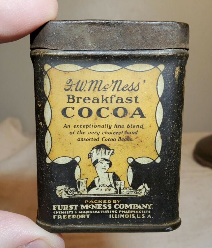 ANTIQUE FURST MCNESS BREAKFAST COCOA SMALL SAMPLE LITHOGRAPHED TIN FREEPORT, IL