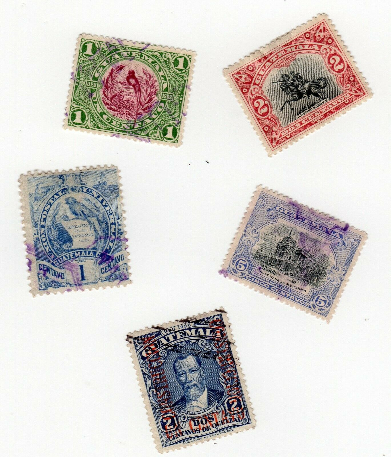 5 Stamps From Guatemala 1887 1c, 1902 1c 2c 5c 1929 2/1c Air Tax Surcharge - $1.50