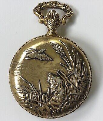"""Vintage Majestron Quartz Pocket Watch Dog & Duck Scene, 1.75"""" Diameter"""