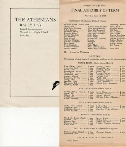 Two Items from 1932 Manual Arts High School - Los Angeles, CA - NAMES IN LISTING
