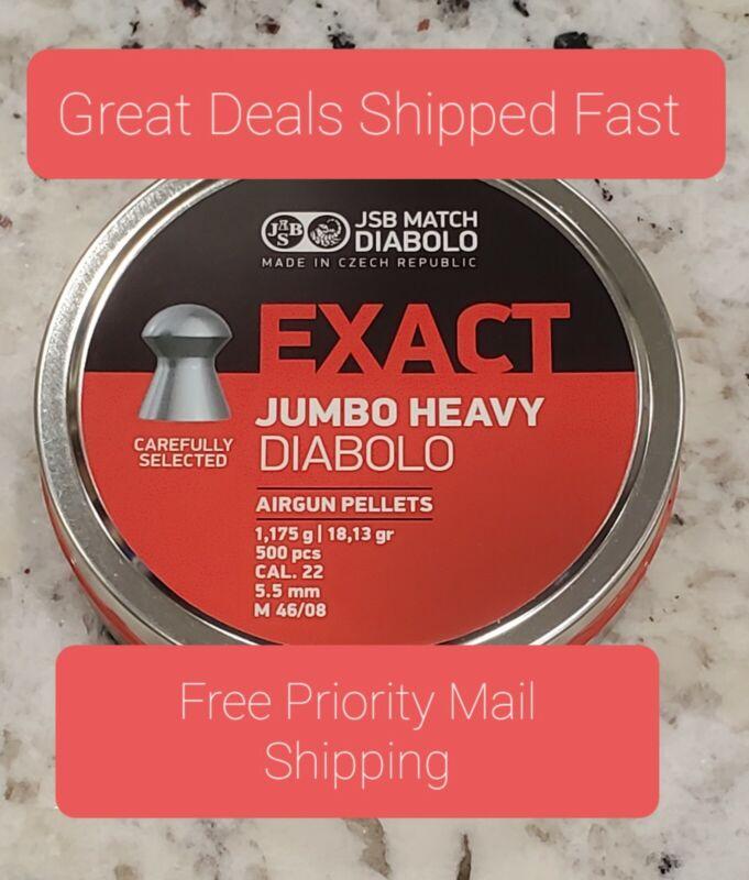 JSB Match Diabolo Exact Jumbo Heavy .22 Cal 18.13 gr Domed Pellets 500ct