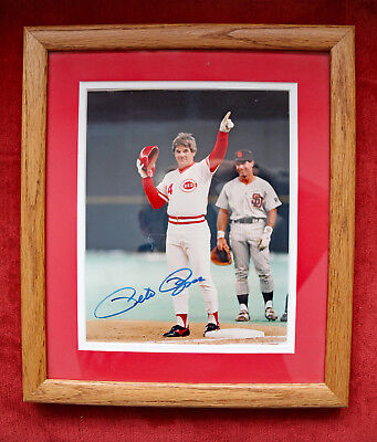 Pete Rose double matted custom framed autographed 8 X 10 photo