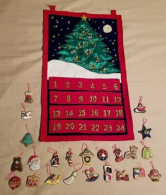 Vintage Christmas Advent Pocket Calendar Handmade with Ornaments - Beautiful!