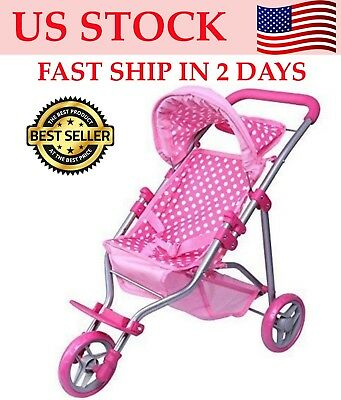 "Christmas Gift for Kid 18"" Baby Dolls Stroller Foldable Pack"