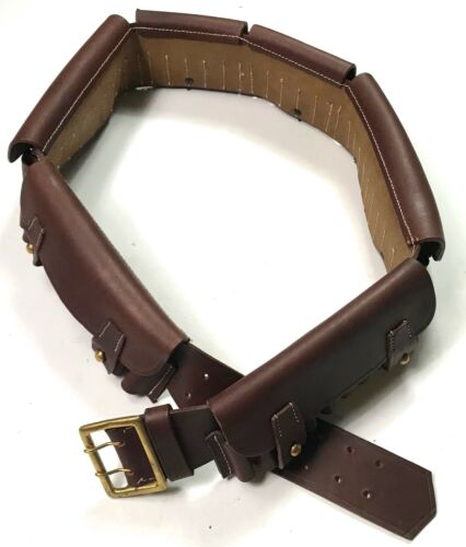 PRE-WWI BRITISH P1882 MARTINI-HENRY RIFLE AMMO BANDOLIER-BROWN LEATHER