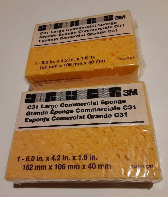 """Set Of 2 3M C31 Large Commercial Sponge 6x4.2x1.6"""" Industrial Quality Made in US"""