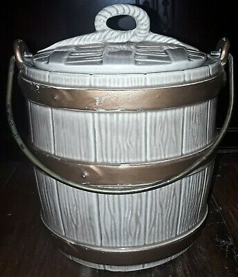 Vintage McCoy Pottery Oaken Bucket Cookie jar w/ Wire Bail Handle