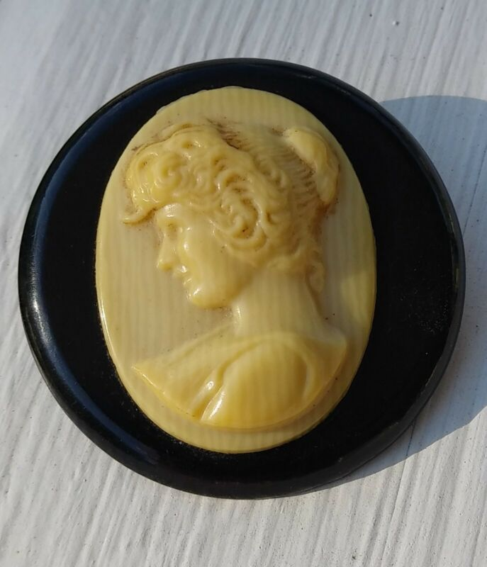 Antique Victorian White & Black Celluloid Cameo Brooch Pin Antique C-clasp