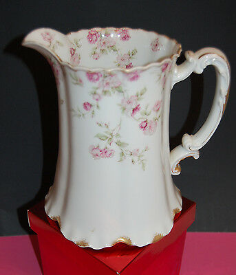 "Haviland Limoges Climbing Rose 8"" Pitcher with Gold Trim Excellent!"