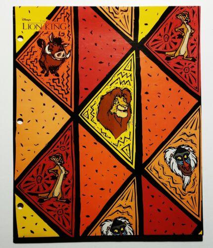 Vintage 1994 Disney The Lion King Folder Binder Impact Simba Timon Pumbaa 90s