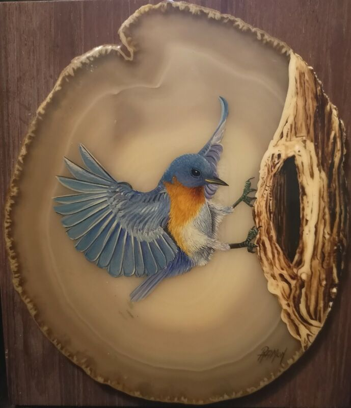 "Vintage Bluebird Hand Painted 7"" Agate(?) Slice. Artist Signed Bird Rock Plaque"