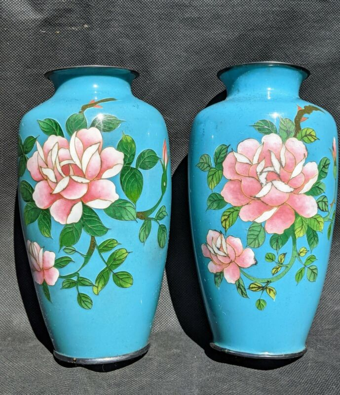 Pair of Japanese Ando Cloisonné Floral Vase In Rare Turquoise  Hallmarked A