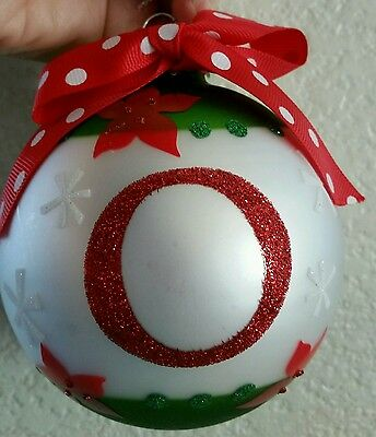 "NWT Monogram Initial ""O"" Large Ball Ornament Poinsettias Red Polka Dot Ribbon"