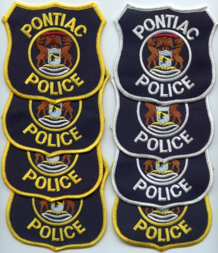 PONTIAC MICHIGAN MI Patch Lot Trade Stock 8 Police Patches POLICE PATCH