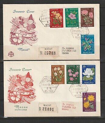 Macau 1954 Flowers set of 8 on 2 Souvenir covers ( FDCs ?? ), Registered, Label