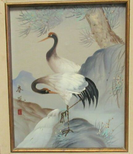 JAPANESE LONG NECKS BIRDS ORIGINAL OIL ON CANVAS PAINTING SIGNED