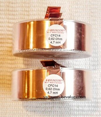 Pair Two Mundorf Coil Inductor Cfc14 4.7 Mh Pure Copper Foil