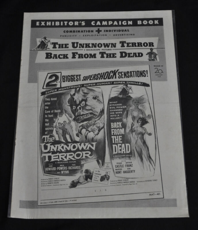 The Unknown Terror/Back From The Dead -Double-Bill Pressbook -1957 (Grade VG+)WH