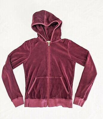 Juicy Couture Maroon Velour Full Zip Hooded Jacket Girls/Kids Size Large
