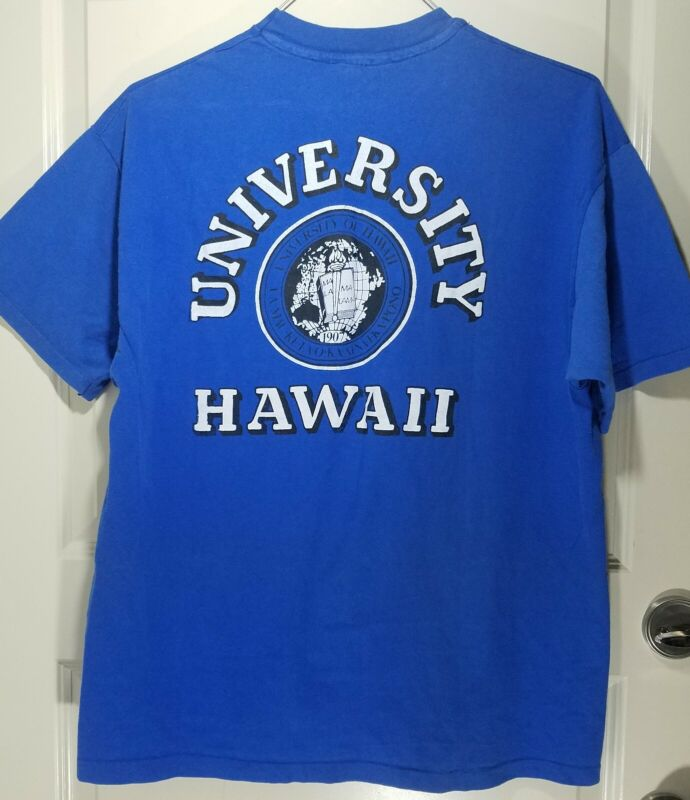 Vintage NCAA University Of Hawaii Rainbow Warriors Logo Single Stitch T-Shirt XL