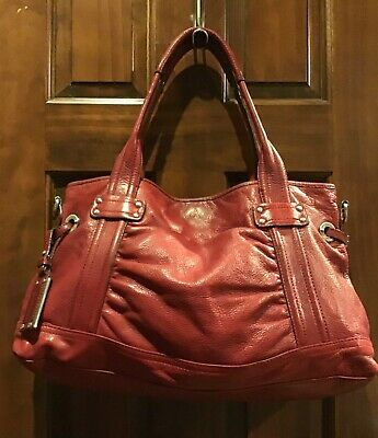 B makowsky Red Pebbled Leather XL Large Shoulder Tote Bag Chain Strap