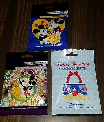 Disney Pins 3 Mystery Packs Couples ~ Best Friends ~ Purses ~ AUTHENTIC SEALED