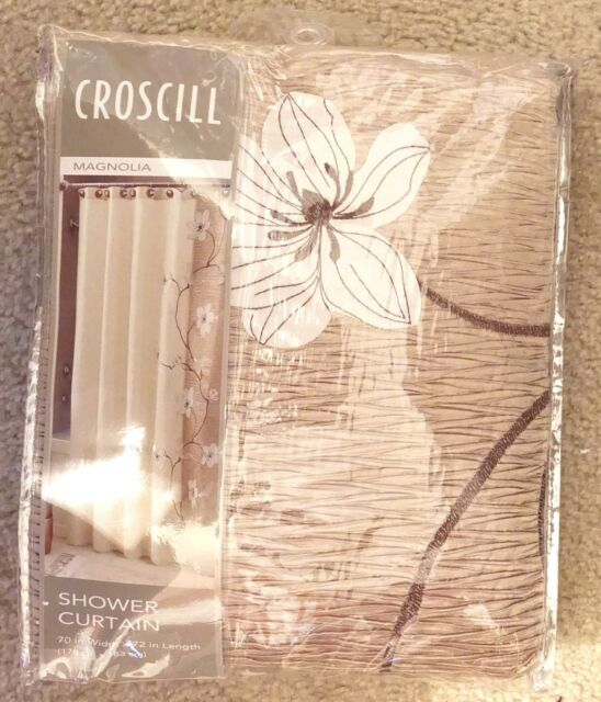 Croscill Magnolia 70 X 72 Stall Shower Curtain Gold Beige Blossoms Flowers