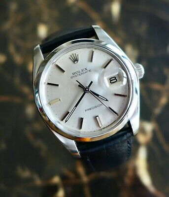 A BEAUTIFUL GENTS VINTAGE 1978 ROLEX OYSTER -DATE PRECISION WRISTWATCH IN STEEL