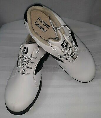 FootJoy GreenJoys Golf Shoes Black and White Leather Saddle Oxfords 48425 Sz 7M for sale  Summerville