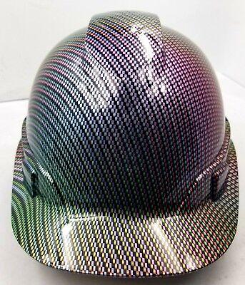 Hard Hat Custom Hydro Dipped Osha Approved Neo Chrome Carbon Fiber New Sick