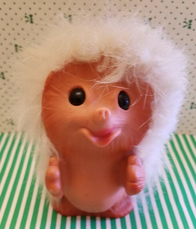 "1960s Vtg Happy Gang Hedgehog 3 1/2"" Troll Doll Rauls UK Dam Era White Fur"