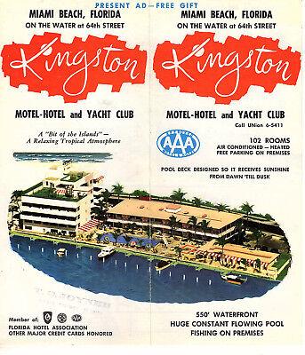 Kingston Motel-Hotel & Yacht Club Miami Beach FL Vintage Brochure Photos Map