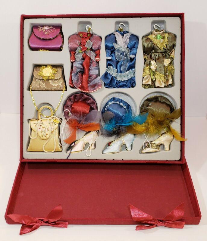 Victorian Edwardian Dress Hat Purse Shoe Christmas Ornaments *Lot Of 12!*