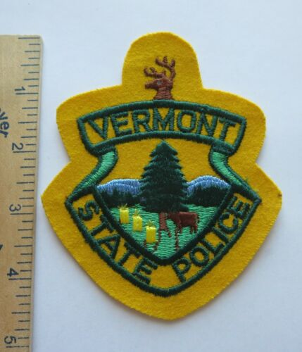 VERMONT STATE POLICE PATCH on Wool Older Vintage Original