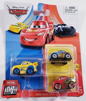 Disney Cars Diecast Mini Racers 3 Pack - Dinoco Wraps Sally Cruz Ramirez McQueen