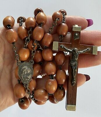 MADE In ITALY WOOD Beaded Rosary Madellion Jesus Rising With Mary Silver Tone Metal Multi Style Wood Beads Vintage 1950/'s