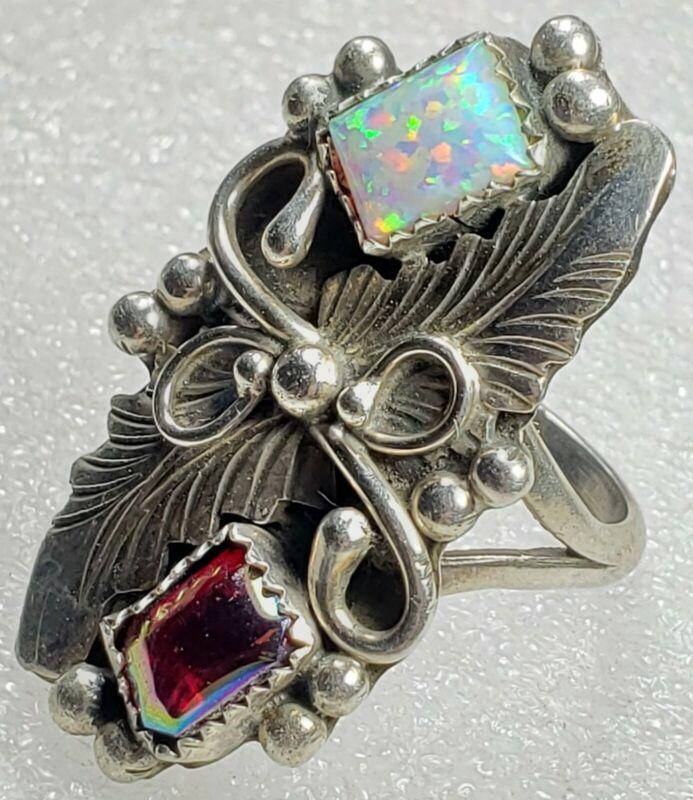 Vintage STERLING Silver signed J Native Southwest Opal Feather Design Ring 8.5