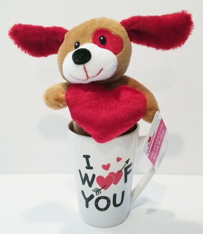 "Doggy Plush In A Mug With Heart Eye Heart plush ""I Woof You"" Valentine NWT."