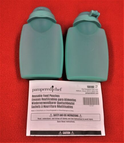 NEW - Pampered Chef - Reusable Food Pouches - Set of Two (2)