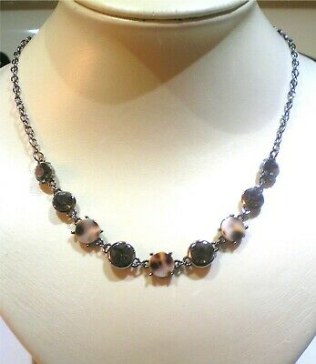 Silver Plated Mother Of Pearl With Cut Smoky Rhinestone Necklace 17.5