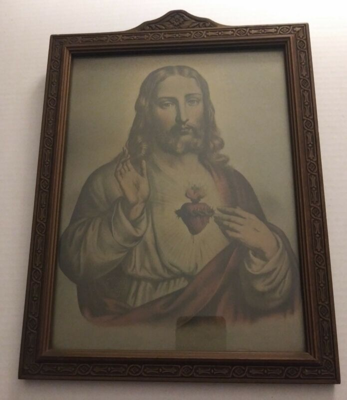 Vintage / Antique  Framed Jesus Print Religious Picture Very Old
