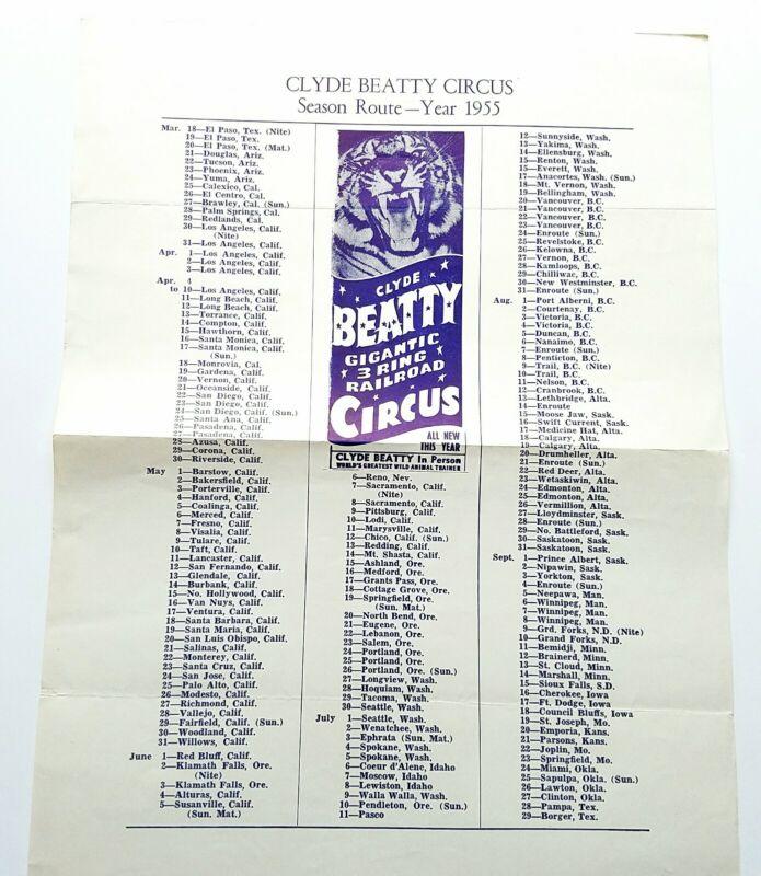 1955 Clyde Beatty Circus Official Season Route 3 Ring Railroad Circus Tiger