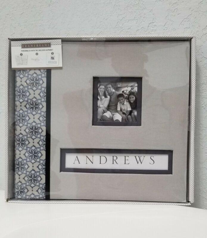 K&Company Scrapbook Album Gray Floral Fabric Frame-a-Name