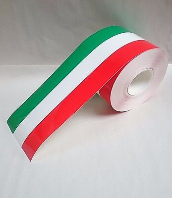Car Sticker Italian Flag Stripe 6mx15cm Hood Roof Mirror Door Decal Decoration