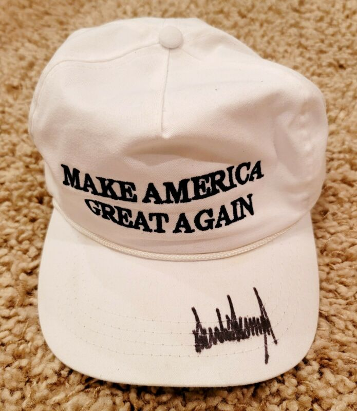 SIGNED President Donald Trump Hand Signed white MAGA Hat Autographed