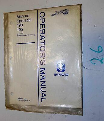 New Holland 190 195 Manure Spreader Owner Operator Manual 42019024 86521524 595